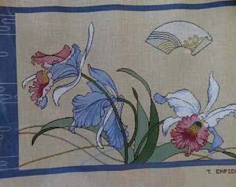Exquisite Terry Enfield ASIAN IRISES Iris Floral Flowers PANEL Picture - Handpainted Hand Painted Needlepoint Canvas