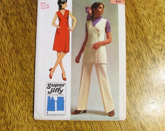 "1970s Super JIFFY Sleeveless Wrap Dress or Tunic Top & Straight Leg Pants - Size 14 (Bust 36"") - VINTAGE Sewing Pattern Simplicity 9461"