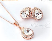White Crystal Bridal Earring Teardrop Bride Stud Rose Gold Wedding Jewelry Swarovski Crystal Cluster Earring Bridesmaid Gift Bridal Necklace