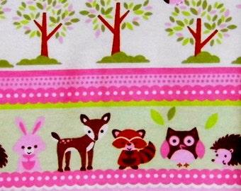 Baby Animal - Pink Fabric - Baby Fabric - Bunny Fabric - Owl Fabric - Flannel Fabric - Cotton Fabric - Nursery Fabric - Deer Fabric - Yard