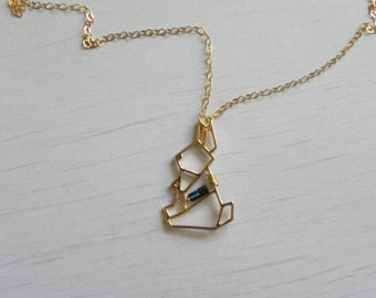 """Moon Rabbit Necklace // 15"""" inches + 14k Gold fill chain + 18k Gold fill findings + Geometric bunny charm"""