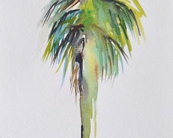 Palm Tree California Palm Original Watercolor Painting, coastal art beach painting
