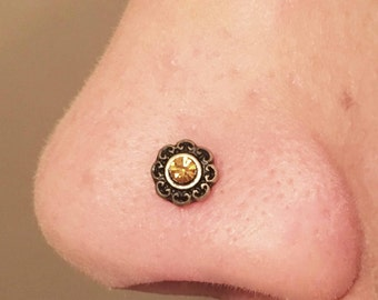 Gold Nose Stud Gold Nose Ring Tribal Heart Topaz Crystal