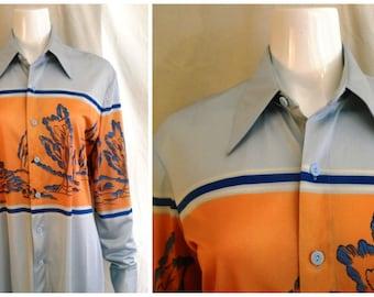 Vintage 1970's Mans Shirt Novelty Print Disco Roland Label M/L