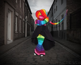 deluxe rainbow fleece 'Tournedot' hi-lo jacket.12 stripe sidhe sleeves. 24 stripe ultimate pixie hood
