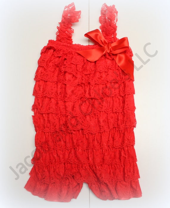 Red Lace Romper,Baby Lace Romper,Petti Romper,Ruffle Romper,Size MEDIUM ONLY,5-10 Months,Easy Diaper Change Snaps Included,Ready to Ship