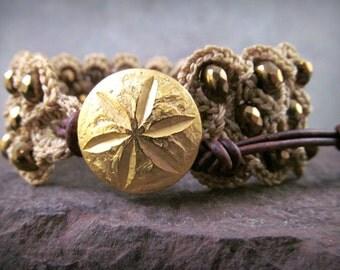 Bohemian Crochet Gold Cuff Bracelet 'Golden Sands' Boho Beach Chic Jewelry