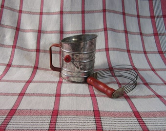 Vintage 1940's (3) Cup Flour Sifter and Androck Red Wooden Handle Pastry Kneader Set