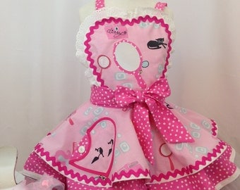 Girls Pink Dress Up Apron, Kid's Apron, Vintage 50's Style