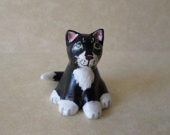 Hand sculpted black and white cat figurine, miniature cat statue . animal totem #140