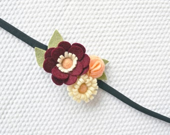 Cottage Chic Headband,Felt Flower Headband,Bridesmaid Headband/Wrist Corsage/Burgundy,Creme and Light Peach colors/ Floral accessories