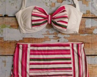 SALE Retro High Waist Bow Bikini Set - Pink Stripe Size LARGE