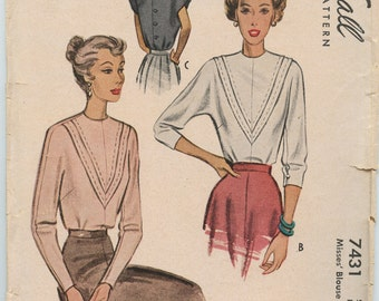 1940s McCall 7431 Misses Back Button Blouse Dolman Sleeves Vintage Sewing Pattern Bust 34