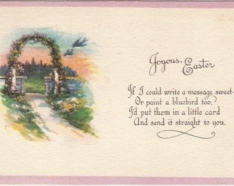 Bluebirds flying by Garden Arbor covered in flowers Springtime EASTER Greeting Vintage Postcard