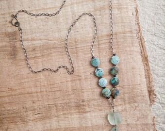 Aqua Sea Glass Necklace, Aqua, Sea Glass Necklace, African Turquoise, Blue Sea Glass, Sea Glass Jewelry, Aqua Glass, Beach Bohemian, Boho