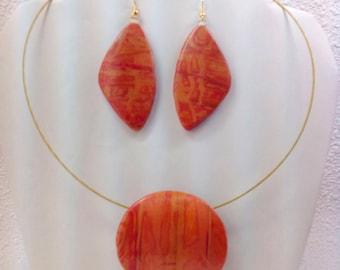 Orange Magenta Pendant with earrings