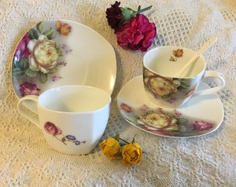 Vintage Peng Dong Porcelain Rose Tea Set 5 Piece Floral Serving Ware Set White With Pink Yellow Purple Green Flowers 2 Teacups Saucers Spoon