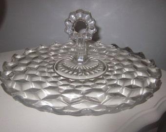 FOSTORIA Center Handle Plate American Pattern, dimensional,center,round,ice cube,crystal,tid bit sandwich