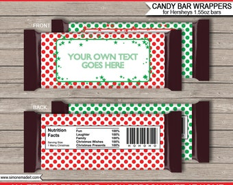 Christmas Candy Bar Wrappers - Christmas Chocolate Labels - Red & Green - INSTANT DOWNLOAD with EDITABLE text - you personalize at home