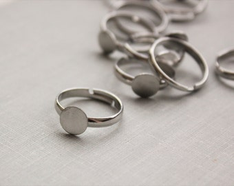 Silver, Brass OR Gunmetal Ring Shanks. 8mm Glue Pad