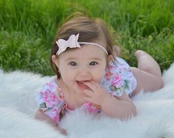 Pink Glitter Bow Headband - Baby Bow Headband - Glitter Bow Headband - Pink Bow Headband - Pink Chiffon Glitter Headband
