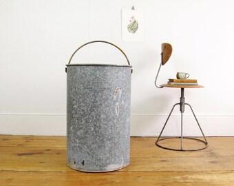 industrial waste bin,waste basket,storage bin,metal bucket,mid century,trash can,Malden Massachusetts, farmhouse antiques circa 1950