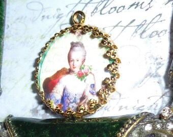 Marie Antoinette vintage art print image charm cabochon diy jewelry making