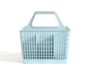silverware caddy ge dishwasher flatware holder kitchen utensil organizer light blue plastic basket