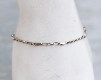 Thin Silver Bracelet - Sterling Silver - Vintage Rope Bracelet