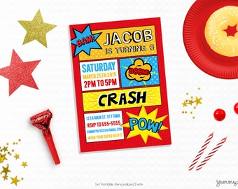 Personalized Printable Superhero Invitation - Super Hero Invite and Favor Tag or Printable Party for Birthdays or Superhero Parties