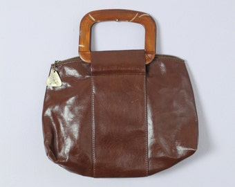 Vintage 1970's JR Wood Handle Chocolate Brown Hand Bag Purse