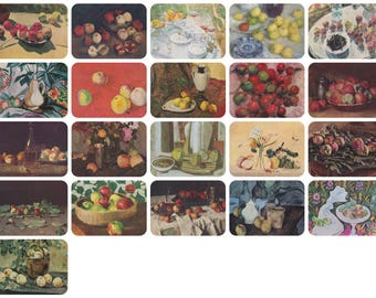 Still Lifes with Apples. Collection / Set of 21 Vintage Prints, Postcards -- 1960s-1980s