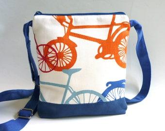 Bikes crossbody bag, hip purse, orange blue white cross body bag, adjustable strap, sling purse, festival bag, shoulder bag, cyclist gift