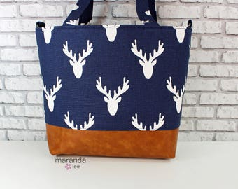 Lulu Large Tote in Navy Antlers and PU Leather  READY to SHIP  6 pockets Nappy Work Purse