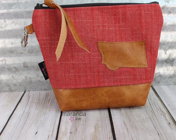 AVA Medium Clutch - Red Denim Montana Patch with PU Leather READY to SHIp Cosmetic Archery Diaper bag Travel Make Up Zipper Pouch