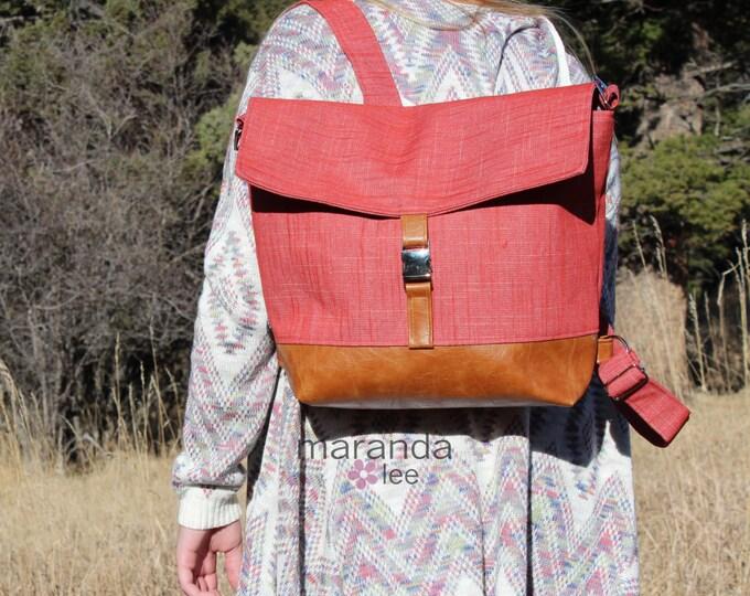 Lulu Large Flap Backpack - Red Denim