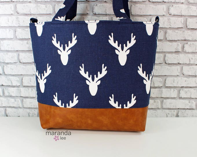 Lulu Large Tote in Navy Antlers  READY to SHIP