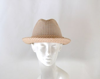 Vintage Ivory, Red and Orange Plaid Fedora by Dobbs Fifth Avenue, Circumference 21 1/4