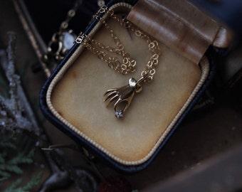 Antique Diamond Pendant, Victorian Hand Pendant, Antique Necklace, Antique Stick Pin Conversion, April Birthstone Jewelry, Hand Necklace.