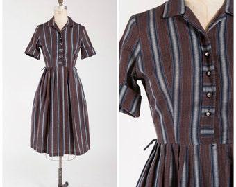 Vintage 1950s Dress • Social Stunner • Brown Silver Blue Striped 50s Shirtwaist Dress Size Medium