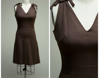 Vintage 1960s Dress • Chestnut Wanderings • Brown Linen 60s Dress by Anne Fogarty Size Medium