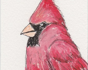 Cardinal ACEO Original Pen and Ink Watercolor with Magnet Frame, Miniature Red Bird Drawing