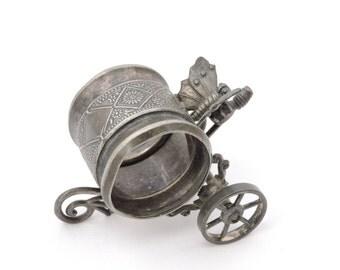 Antique 1870's Meriden B Company Butterfly Cart Napkin Ring - Meriden Britannia Silverplate #211