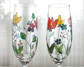Champagne Glasses, Hand Painted Champagne Flutes,  Floral Wedding Glasses, Embroidery Design 2.  Colourful Flower Glasses, Set of 2
