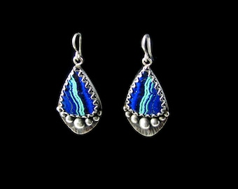 Azurite malachite Earrings,azurite malachite gemstones, azurite malachite earrings, One of a kind earrings, sterling silver earrings