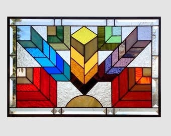 Stained glass window panel Arts and crafts rainbow feather chevron stained glass panel window Mission style chevron 0226 20 1/2 x 13 1/2