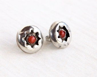 Red Coral Stud Post Earrings Vintage Native American Signed Shadowbox Posts Southwestern Jewelry
