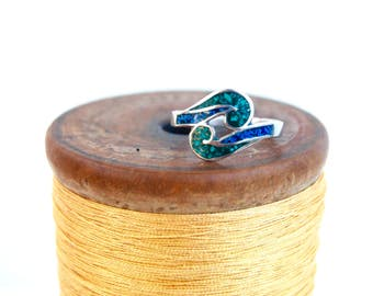 Mexican Wave Ring Size 6.5 Vintage Blue and Green Stone Resin Sterling Silver Tribal Wave Ring