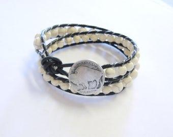 Wrap Bracelet, Leather Bracelet, Double Wrap Bracelet, White Buffalo Turquoise Leather Bracelet, White and Black Bracelet, Buffalo Nickel