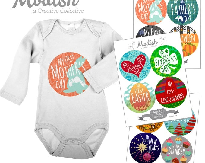 Featured listing image: First Mother's Day Baby Stickers - Photo Prop